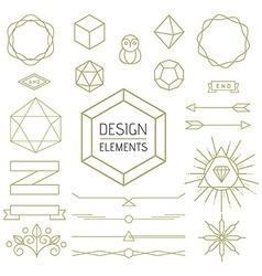 Design element set mono line art geometry symbol vector image