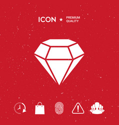 Diamond sign jewelry symbol gem stone flat vector