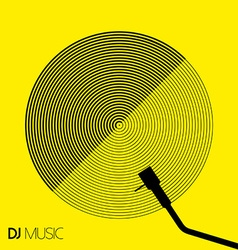 DJ music design geometry circle vinyl in line art vector image