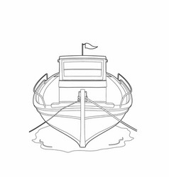 Drawing of a fishing boat vector