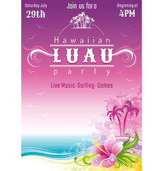 Evening beach sea flyer hawaiian luau party vector