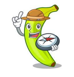 Explorer a organic fruit green banana cartoon vector