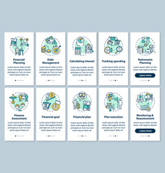 Financial literacy onboarding mobile app page vector