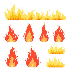 fire flame bonfire red-yellow burning fiery vector image