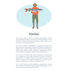 Fishery sport or hobby activity poster with fisher vector