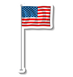 flag united states america with pole vector image