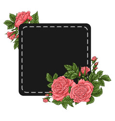 Frame coral roses hand drawing vector