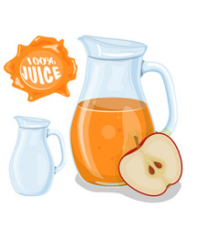 glass jug with natural juice ripe apple juice vector image