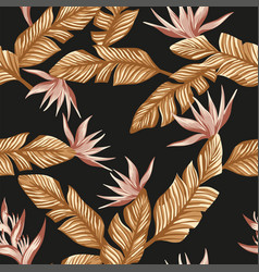 gold tropical leaves and pink flowers black vector image