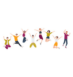 group young happy people jumping together vector image