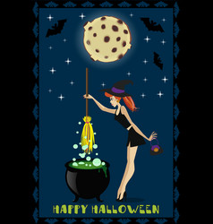 halloween of cute young witch with cauldron on vector image