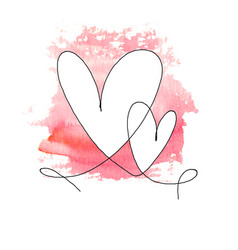 hand drawn two hearts with black outline vector image