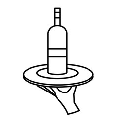 Hand with tray and wine bottle vector