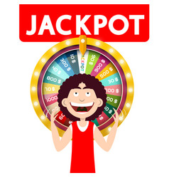 happy man with jackpot wheel of fortune isolated vector image