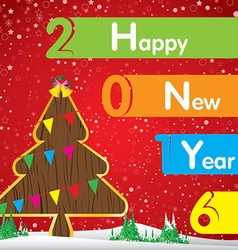 Happy New Year and Christmas tree on red vector image
