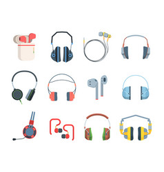 Headphones colored large set special gamers vector