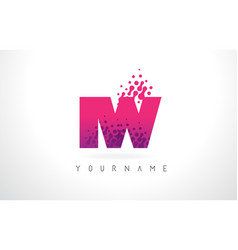 Iw i w letter logo with pink purple color and vector