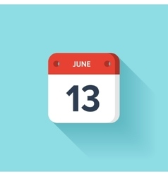 June 13 Isometric Calendar Icon With Shadow vector