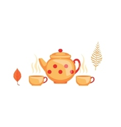 Kettle And Twoo Cups Of Tea As Autumn Attribute vector image