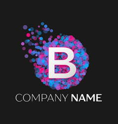 letter b logo with blue purple pink particles vector image
