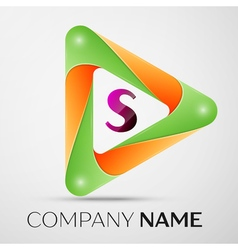Letter S logo symbol in the colorful triangle on vector