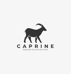 logo goat walking silhouette vector image