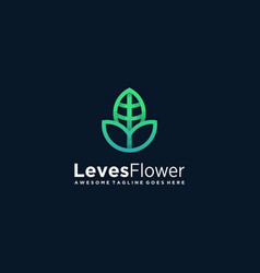 logo leaves flower gradient colorful vector image