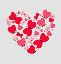Love Card Cute Heart from Red Butterflies vector