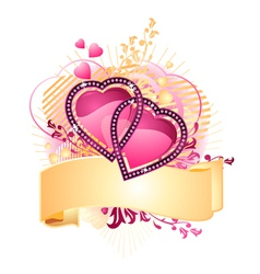 love hearts with banner vector image