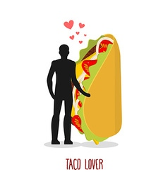 Lover taco Love to Mexican food Man and fastfood vector image