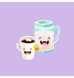 Milk And Tea Cartoon Friends vector image