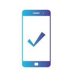 mobile phone icon with check approve done or vector image