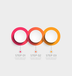 Modern 3d infographic template with 3 steps vector