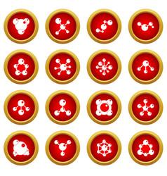 molecule icon red circle set vector image