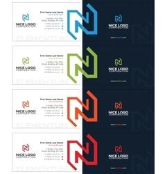 N letter business card dark vector