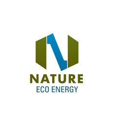 nature eco energy letter n icon vector image