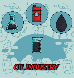 Oil industry flat concept icons vector