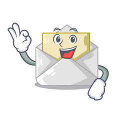 Okay open envelope greeting posters on character vector