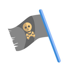 old shabby black pirates flag with skull on blue vector image