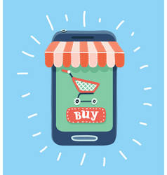 online store concept smartphone with awning vector image