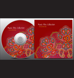 paisley red floral cd design vector image