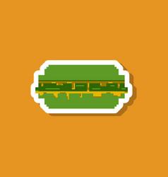 Paper sticker on stylish background burger vector