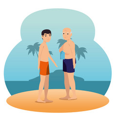 people on the beach summer vacation design vector image
