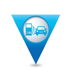 Petrol station AND car BLUE triangular map pointer vector