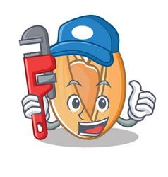 Plumber pistachio nut mascot cartoon vector