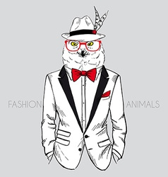 Polar owl dressed up in tuxedo chic style vector