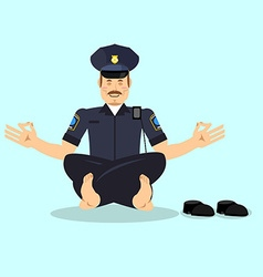 Policeman meditating Cop yoga Police officer vector