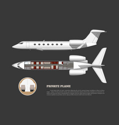 Private airplane interior side and top view vector