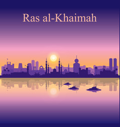 Ras al-khaimah silhouette on sunset background vector