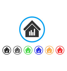Realty bar chart rounded icon vector